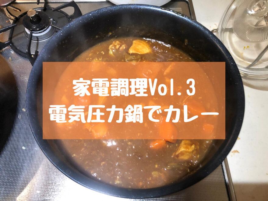 【家電調理】電気圧力鍋でカレー、シチュー、ポトフを時短調理する