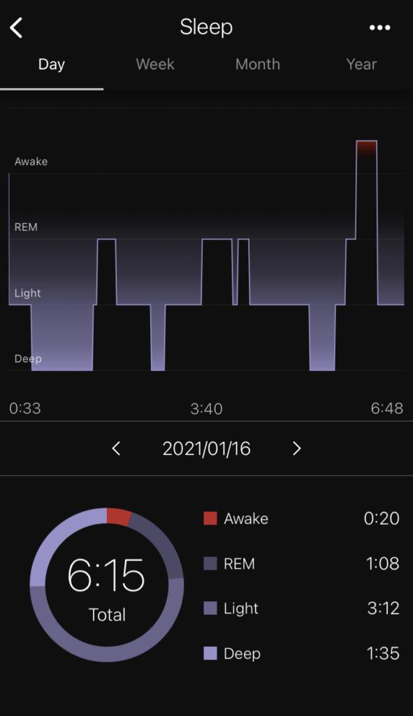 wena3 アプリ 睡眠ログ表示